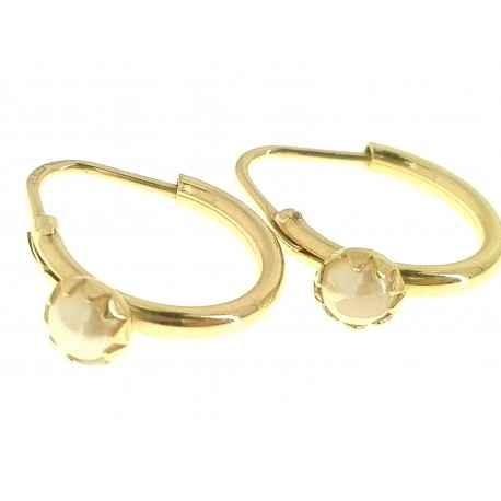 ORECCHINI BIMBA - Orecchini Perle Bimba Bambina Cerchio Oro Giallo 18 kt Carati Ct 750 1,55 Gr