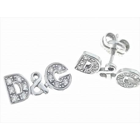 ORECCHINI ORO BIANCO - Orecchini Donna Oro Bianco 18 kt Carati Ct 750 2,10 Gr Zirconi Taglio Brillante