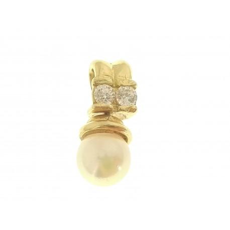 PENDENTI ORO GIALLO - Ciondolo Pendente Donna Oro Giallo 18 Kt Carati Ct 750 2,10 Gr Perla