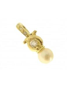 PENDENTI ORO GIALLO - Ciondolo Pendente Donna Oro Giallo 18 Kt Carati Ct 750 1,70 Gr Perla