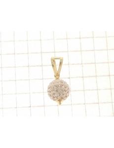 COLLANE ORO GIALLO - Collana Catenina Pendente Sfera Donna Oro Bianco 18 Kt Carati Ct 750 1,35 Gr