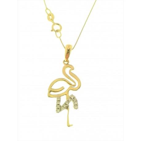 COLLANE ORO GIALLO - Collana Catenina Pendente Donna Oro Giallo Bianco 18 kt Carati Ct 750 2,75 Gr