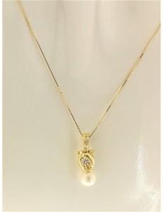 COLLANE ORO GIALLO - Collana Catenina Pendente Perla Donna Oro Giallo 18 Kt Carati Ct 750 2,35 Gr