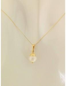 COLLANE ORO GIALLO - Collana Catenina Pendente Perla Donna Oro Giallo 18 Kt Carati Ct 750 1,60 Gr