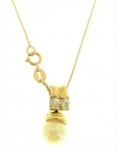 COLLANE ORO GIALLO - Collana Catenina Pendente Perla Donna Oro Giallo 18 Kt Carati Ct 750 2,85 Gr
