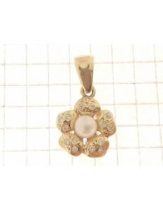 COLLANE ORO GIALLO - Collana  Veneziana Pendente Perla  Donna Oro Giallo 18 Kt Carati Ct 750 4,10 Gr