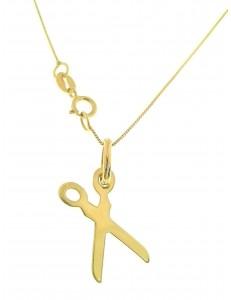 Collana Catenina Pendente Forbici Donna Oro Giallo 18 Kt Carati Ct 750 1,45 Gr