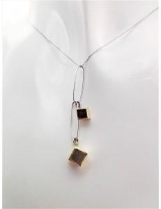 COLLANE ORO GIALLO - Collana Catenina Pendente Donna Oro Giallo Bianco 18 Kt Carati Ct 750 2,45 Gr