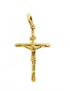PENDENTI ORO - Ciondolo Pendente Croce Uomo Donna Oro Giallo 18 Kt Carati Ct 750 0,75Gr