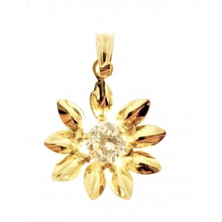 PENDENTI ORO GIALLO - Ciondolo Pendente Donna Oro Giallo 18 Kt Carati Ct 750 1,30 Gr Fiore