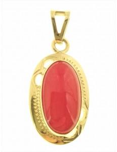 PENDENTI ORO GIALLO - Ciondolo Pendente Donna Oro Giallo 18 Kt Carati Ct 750 3,60 Gr Corallo