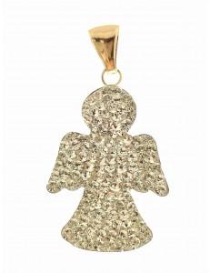 PENDENTI ORO - Ciondolo Pendente Donna Ragazza Oro Giallo 18 Kt Carati Ct 750 1,10 Gr Angelo