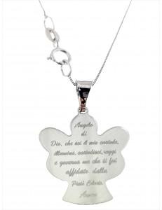 Collana Catenina Pendente Angelo Preghiera Donna Oro Bianco 18 Kt Carati Ct 750