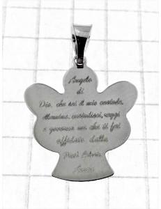 COLLANE ORO BIANCO - Collana Catenina Pendente Angelo Preghiera Donna Oro Bianco 18 Kt Carati Ct 750