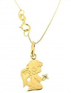 COLLANA ANGELO - Catenina Pendente Angelo Donna Oro Giallo 18 Kt Carati Ct 750