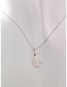 COLLANE ORO - Collana Catenina Pendente Angelo Donna Oro Bianco 18 Kt Carati Ct 750 1,15 Gr