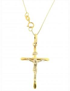 COLLANE UNISEX - Collana Catena 50 Croce Uomo Donna Oro Giallo Bianco 18 kt Carati Ct 750 2,25 Gr