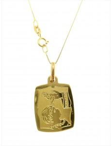 COLLANE UNISEX - Collana Catenina Fonte Battesimale Oro Giallo 18 Kt Carati Ct 750 3,20 Gr