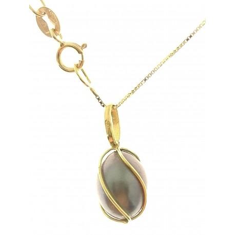 COLLANE ORO GIALLO - Collana Catenina Pendente Donna Oro Giallo 18 Kt Carati Ct 750 1,55 Gr Perla