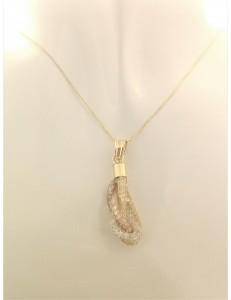 COLLANE ORO GIALLO - Collana Collanina Pendente Donna Oro Giallo Bianco Rosa 18 Kt Carati 750 3,75 Gr