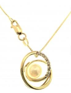 COLLANE ORO GIALLO - Collana Catenina Pendente Donna Oro Giallo 18 Kt Carati Ct 750 5,0 Gr Perla