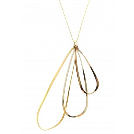 COLLANE ORO GIALLO - Collana Catenina Pendente Donna Oro Giallo Bianco Rosso 18 Kt Carati 750 3,35 Gr