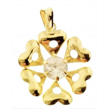 PENDENTI ORO GIALLO - Ciondolo Pendente Donna Oro Giallo 18 Kt Carati Ct 750 1,25 Gr Fiore