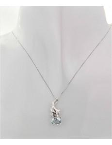 COLLANE  DIAMANTI - Collana Catenina Diamante Topazio Donna Oro Bianco 18 Kt Carati 750 0,01 Ct