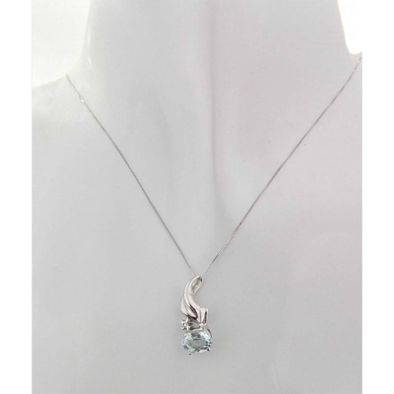 Collana Catenina Diamante Topazio Donna Oro Bianco 18 Kt