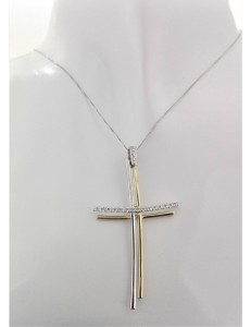 COLLANE  DIAMANTI - Collana Donna Diamanti Croce Oro Bianco Giallo  18 kt Carati 750 6,50 Gr 0,15 CT