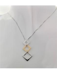 COLLANE  DIAMANTI - Collana Donna Diamanti Oro Bianco Giallo 18 kt Carati 750 4,75 Gr 0,01 CT