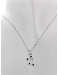 COLLANE  DIAMANTI - Collana Donna Diamanti Zaffiri Oro Bianco 18 kt Carati 750 3,50 Gr 0,13 Ct