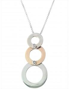 COLLANE  DIAMANTI - Collana Donna Diamanti Oro Bianco Giallo 18 Kt Carati 750 4,20 Gr 0,01 CT