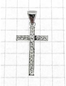 CROCI E SACRI ORO BIANCO - Ciondolo Pendente Croce Donna Ragazza Oro Bianco 18 Kr Carati Ct 750 0,54 Gr