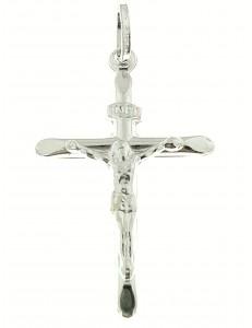 CROCI E SACRI ORO BIANCO - Ciondolo Pendente Croce Crocifisso Uomo Donna Oro Bianco 18 Kt Carati Ct 750