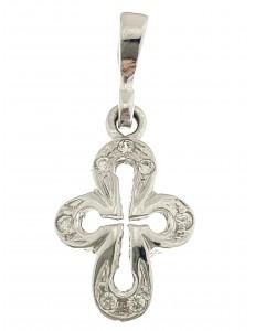 CROCI E SACRI ORO BIANCO - Ciondolo Pendente Croce Crocifisso Donna Oro bianco 18 Kt Carati 750 2,10 Gr