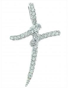 CROCI E SACRI ORO BIANCO - Ciondolo Pendente Donna Oro Bianco 18 Kt Carati Ct 750 3,50 Gr Croce