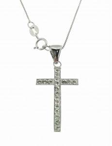 COLLANE ORO BIANCO - Collana Catenina Pendente Croce Donna Oro Bianco 18 Kt Carati Ct 750 1,30 Gr