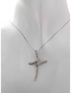 COLLANE ORO BIANCO - Collana Catenina Veneziana Croce Donna Oro Bianco 18 kt Carati Ct 750 4,75 Gr