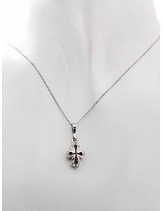 COLLANE ORO BIANCO - Collana Catenina Pendente Croce Donna Oro Bianco 18 Kt Carati Ct 750 2,80 Gr