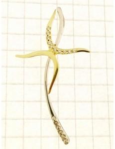 COLLANE ORO BIANCO - Collana Catenina Pendente Croce Donna Oro Bianco 18 Kt Carati Ct 750 3,25 Gr