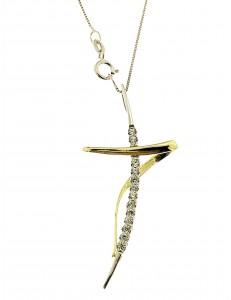 COLLANE ORO BIANCO - Collana Catenina Pendente Croce Donna Oro Bianco 18 Kt Carati Ct 750 2,95 Gr