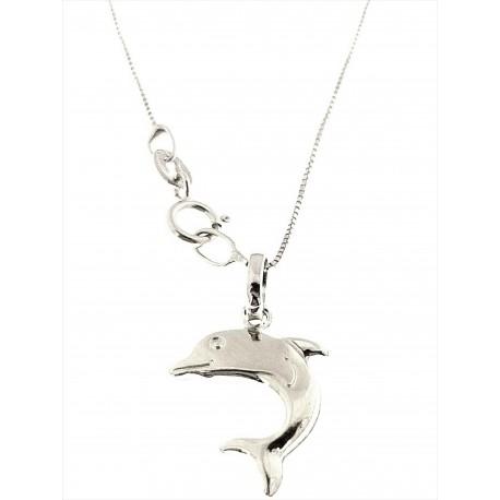COLLANE ORO - Collana Catenina  Donna Bambina Bimba Oro Bianco 18 kt Carati Ct 750 Delfino