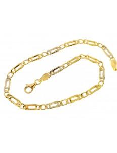 BRACCIALI UNISEX - Bracciale Braccialetto Uomo Donna Oro Giallo Bianco 18 Kt Carati Ct 750 4,05 Gr