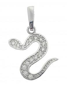 PENDENTI ORO BIANCO - Ciondolo Pendente Serpente Serpentello Donna Oro bianco 18 Kt Carati 750 1,70 Gr