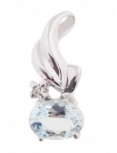 PENDENTI ORO BIANCO - Ciondolo Pendente Diamante Topazio Donna  Oro Bianco 18 Kt Carati Ct 750 1,90 Gr
