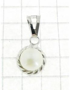 PENDENTI ORO BIANCO - Ciondolo Pendente Donna Ragazza Oro Bianco 18 Kt Carati Ct 750 0,60 Gr Perla