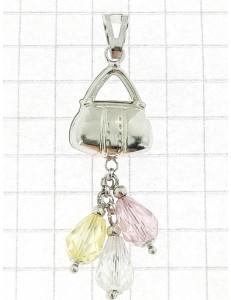 PENDENTI ORO BIANCO - Ciondolo Pendente Donna Ragazza Oro Bianco 18 Kt Carati Ct 750 2,30 Gr borsetta