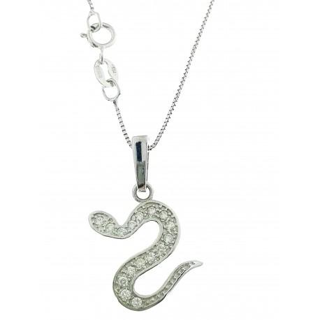 COLLANE ORO BIANCO - Collana Catenina Serpente Serpentel Donna Oro Bianco 18 Kt Carati Ct 750 2,40 Gr