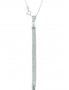 COLLANE ORO BIANCO - Collana Catenina Veneziana Pendente Donna Oro Bianco 18 Kt Carati Ct 750 3,90 Gr